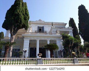 CORFU, GREECE - AUGUST 11, 2018:Front of the Sissi Palace in kerkyra