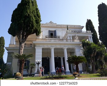 CORFU, GREECE - AUGUST 11, 2018:Front oh Sissi Palace in Kerkyra