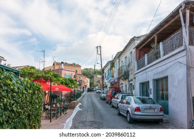 Corfu, Greece - August 18th 2020 - Street in Sinarades village, Corfu island, Greece