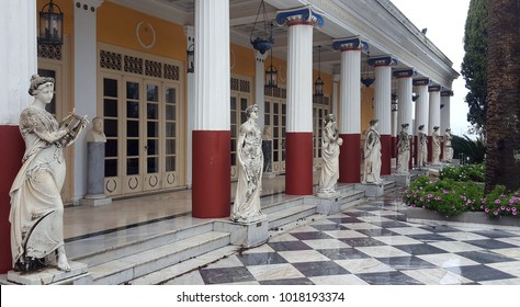 CORFU, GREECE- January 21, 2018: Statues on terrace of the Achilleion princess Sissy's palace in Corfu, Greece