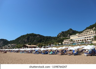 Corfu, Greece - July 19, 2018: Glyfada beach resort