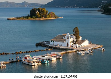CORFU, GREECE - JULY 26, 2011: Vlacherna monastery and Pontikonisi island at sunset, Kanoni, Corfu island, Greece