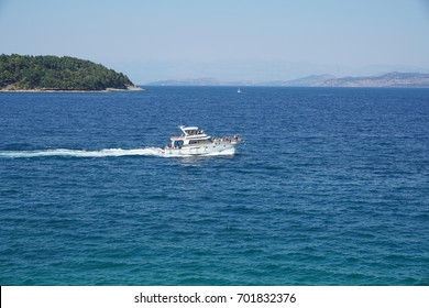 Corfu, Greece - JULY 30, 2017: Boat in the sea