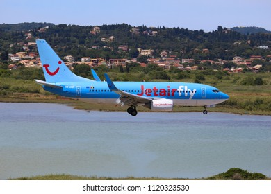 CORFU, GREECE - JUNE 5, 2016: Jetairfly Boeing 737-700 arrives at Corfu International Airport, Greece. The Belgian airline Jetairfly is part of TUI Group - large multinational tourism company.