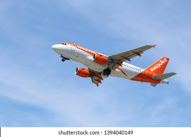 CORFU, GREECE - JUNE 5, 2016: EasyJet Airbus A319 takes off from Corfu International Airport, Greece. With 65 million passengers carried in 2014, easyJet is the 2nd largest airline in Europe.