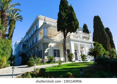 CORFU, GREECE - MARCH 4, 2017: Achilleion palace in Corfu Island, Greece, built by Empress of Austria Elisabeth of Bavaria, also known as Sisi.