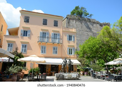 CORFU, GREECE, MAY 1, 2019: Street view in Corfu Old Town