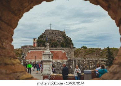 CORFU GREECE - OCTOBER 23 2018: Tourists in front of entrance of the venetian old venetian fortress. Fortress is an interesting touristic and historical place