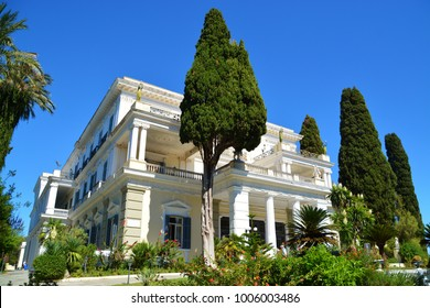CORFU, GREECE. SEPTEMBER 14, 2017.  The Achilleion Palace of Sissi, the empress of austria.