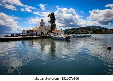 Corfu, Greece, September 3, 2014. Beautiful view from the sea at the church Panagia Vlacherna near Kanoni