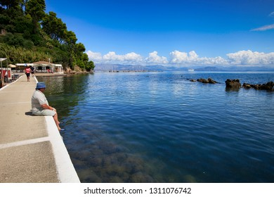 Corfu, Greece, September 3, 2014. Beautiful view of the sea and the island near Cape Kanoni