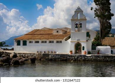 Corfu, Greece, September 3, 2014. Beautiful view at the church Panagia Vlacherna near Kanoni
