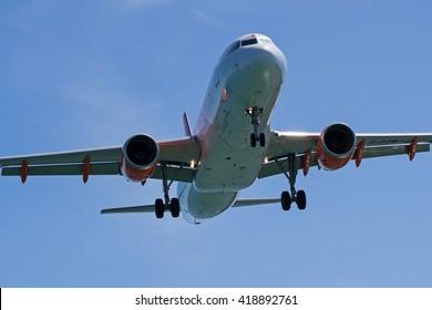 CORFU, GREECE - September 30: EasyJet Airbus A320 (G-EZWJ) at Corfu Airport - CFU. September 30, 2013.