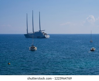 Corfu, Greece, Corfu town, september 24, 2018: Sailing yacht A is a launched in 2015. World's Largest Sailing Yacht named A, belonging to the Russian Billionaire Andrey Melnichenko. Blue sky