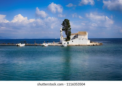 Corfu Island, Greece. Beautiful sea view and the Monastery of Vlaherna on the Kanoni Peninsula