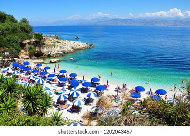 Corfu island, Greece - July 11, 2018: Kassiopi Bataria beach view