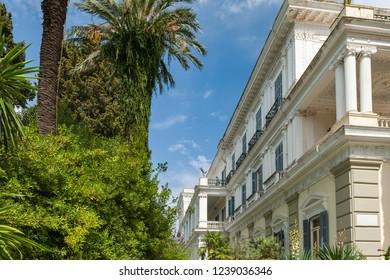 CORFU ISLAND, GREECE, SEP 2017: Achillion Palace built in Gastouri by Elisabeth of Bavaria, also known as Sisi.
