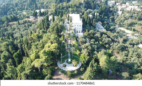 Corfu island, Ionian / Greece - August 23 2018: Aerial drone photo of iconic Palace of Achileion former residence Empress Elisabeth of Austria (known as 'Sissi') and Kaiser William II of Germany