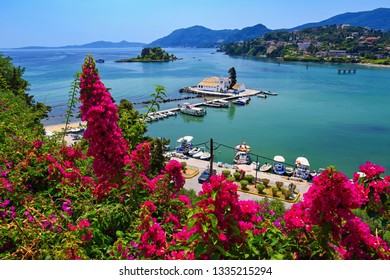 Corfu island. (Kerkyra) Greece. Beautiful Vlacherna Monastery and Mouse island. (Pontikonisi) Beautiful colorful island for summer holidays/vacation and travel.