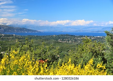 Corfu island landscape - view from Kaiser's Throne overlook. Greece nature.