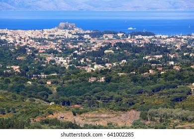 Corfu island landscape - view from Kaiser's Throne overlook towards Corfu Town.