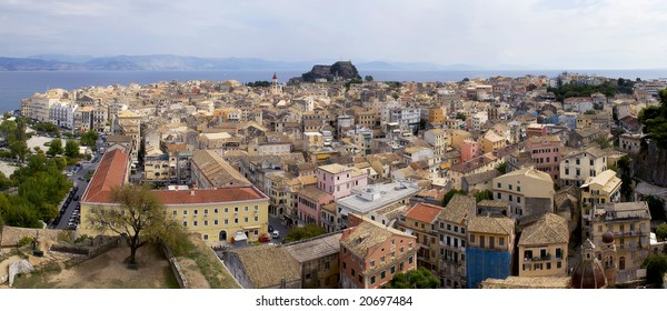 Corfu Old Town as viewed from Venetian fort. Two image Panorama