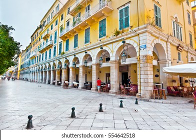 CORFU-AUGUST 22: The Liston of Corfu in Kerkyra cityduring the midday with the row of local restaurants on August 22, 2014 on Corfu island, Greece.