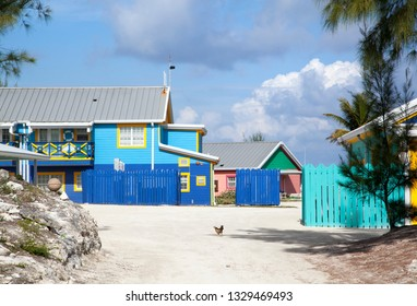 Corful wooden houses on tourist island Little Stirrup Cay (Bahamas).