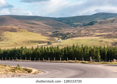 Corgarff Castle sits alone in the vast landscape of Cairngorms national park in Scotland, UK in August 2018.