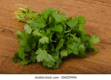 Coriander leaves heap on the wood background