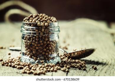 Coriander seeds, selective focus