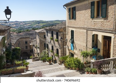 Corinaldo (Ancona, Marches, Italy): the historic town at morning. Well