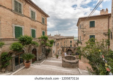 corinaldo, marche / italia - may 2017: walking through the streets of the ancient medieval village