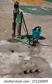 coring sample concrete road to test strength : construction work
