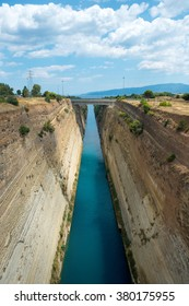 Corinth canal that connects the Gulf of Corinth with the Saronic Gulf in the Aegean Sea, Greece
