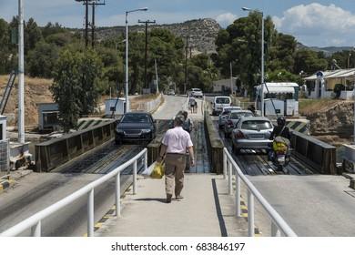 Corinth, Greece- May 15, 2016 : Floating bridge in Corinth canal