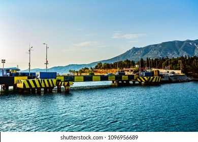 CORINTH, GREECE-23 MAY 2017: Submersible bridge over the canal. The Corinth Canal  is a canal that connects the Gulf of Corinth with the Saronic Gulf in the Aegean Sea.