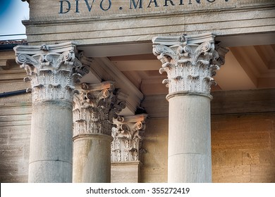 Corinthian capitals of the columns of Catholic church in neoclassical style with Corinthian capitals