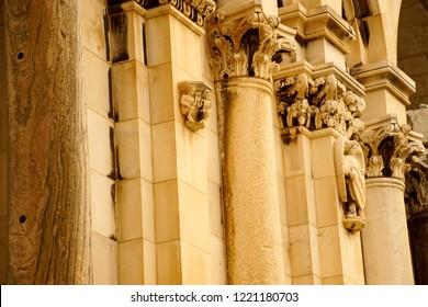 Corinthian capitals limestone  columns of Peristyle courtyard of Diocletian's Palace, Split, Croatia