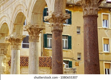 Corinthian capitals on Egyptian granite columns of Peristyle courtyard of Diocletian's Palace, Split, Croatia