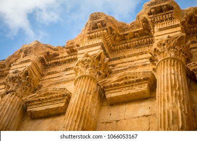Corinthian capitals ornamenting the Temple of Bacchus