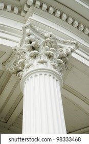 Corinthian capitol set atop a fluted column.  Beautiful classical architecture.