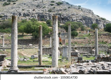 Corinthian colomn looking across Agora to Basilica B. Remains from historic Philippi that would have been visited by the Apostle Paul, Silas, Lydia and early Christians from Acts 16.