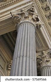 Corinthian column in Congreso de los Diputados. Madrid. Spain