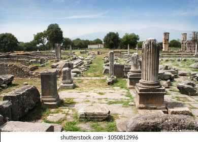 Corinthian column looking across agora to Basillica B. Remains from historic Philippi that would have been visited by the Apostle Paul, Silas, Lydia and early Christians from Acts 16.