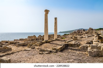 Corinthian columns and ruins of ancient Tharros - Sardinia,Italy