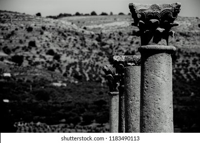 Corinthian columns in Volubilis, ruins of ancient rome, Morocco