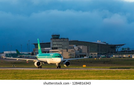 Cork Airport, Ireland - 13th January, 2019: Aer Lingus Airbus A320 Passenger aircraft taxiing for take off on the runway at Cork Airport, Republic of Ireland.