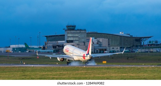 Cork Airport, Ireland - 13th January, 2019: Air France operated HOP airlines passenger jet landing at Cork Airport in Republic of Ireland