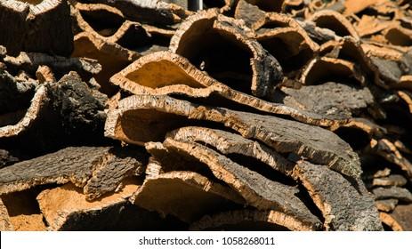 Cork bark stacks in Portugal
